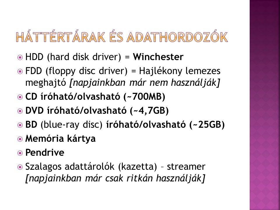  HDD (hard disk driver) = Winchester  FDD (floppy disc driver) = Hajlékony lemezes meghajtó [napjainkban már nem használják]  CD íróható/olvasható