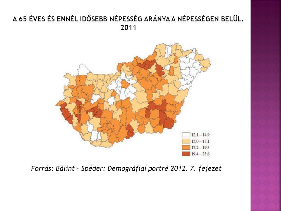 A 65 ÉVES ÉS ENNÉL IDŐSEBB NÉPESSÉG ARÁNYA A NÉPESSÉGEN BELÜL, 2011 Forrás: Bálint – Spéder: Demográfiai portré 2012.