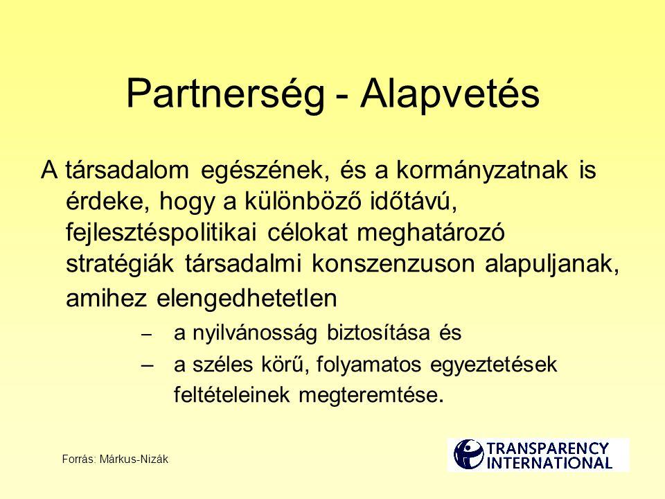 Partnerség - Alapvetés A társadalom egészének, és a kormányzatnak is érdeke, hogy a különböző időtávú, fejlesztéspolitikai célokat meghatározó stratégiák társadalmi konszenzuson alapuljanak, amihez elengedhetetlen – a nyilvánosság biztosítása és –a széles körű, folyamatos egyeztetések feltételeinek megteremtése.