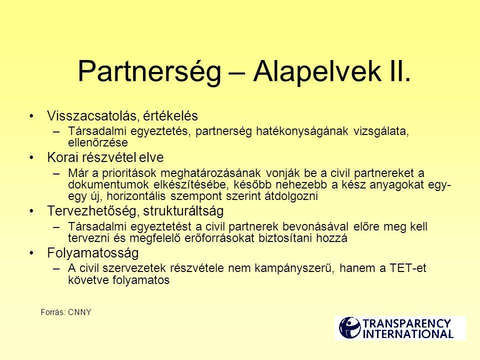 Partnerség – Alapelvek II. Visszacsatolás, értékelés –Társadalmi egyeztetés, partnerség hatékonyságának vizsgálata, ellenőrzése Korai részvétel elve –