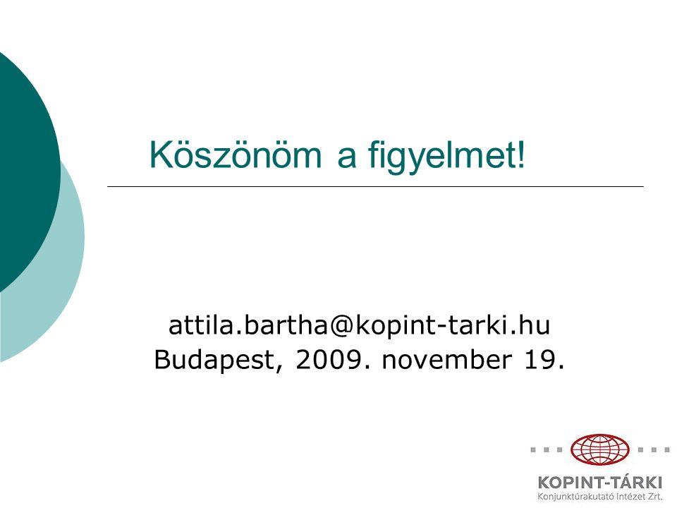 Köszönöm a figyelmet! attila.bartha@kopint-tarki.hu Budapest, 2009. november 19.