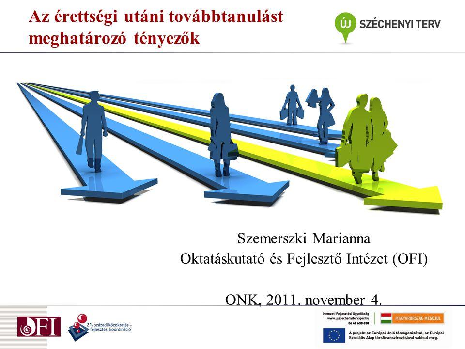 Az érettségi utáni továbbtanulást meghatározó tényezők Szemerszki Marianna Oktatáskutató és Fejlesztő Intézet (OFI) ONK, 2011. november 4.