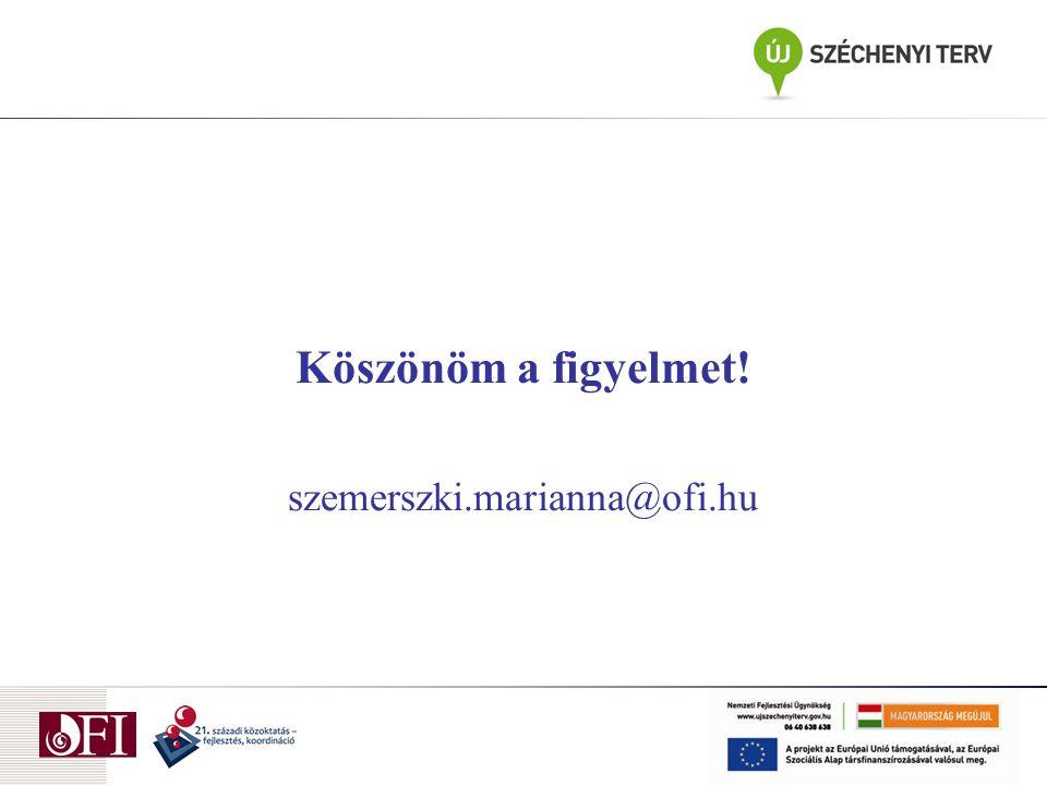 Köszönöm a figyelmet! szemerszki.marianna@ofi.hu
