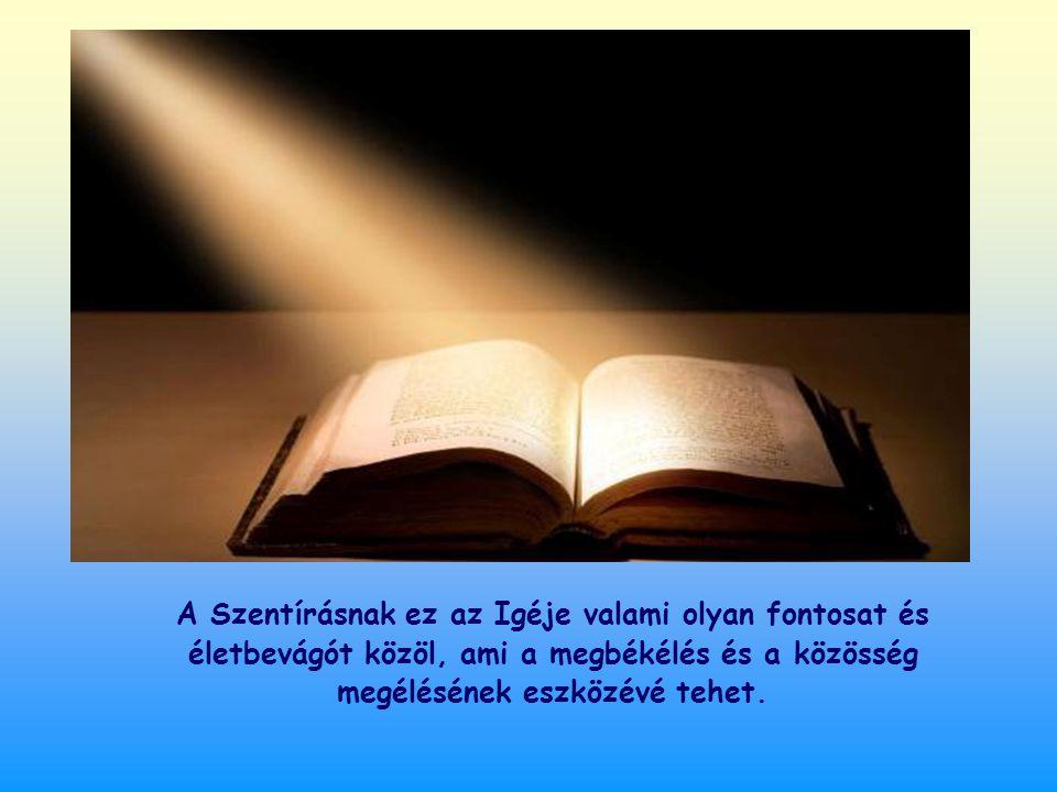 A Szentírásnak ez az Igéje valami olyan fontosat és életbevágót közöl, ami a megbékélés és a közösség megélésének eszközévé tehet.
