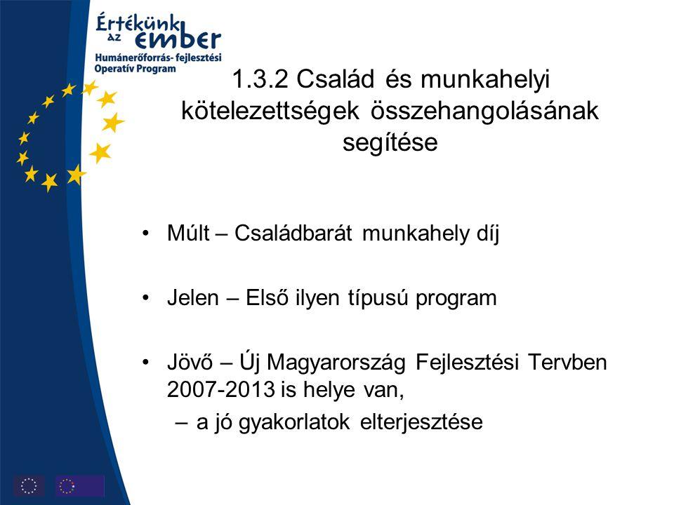1.3.2 Család és munkahelyi kötelezettségek összehangolásának segítése Múlt – Családbarát munkahely díj Jelen – Első ilyen típusú program Jövő – Új Magyarország Fejlesztési Tervben 2007-2013 is helye van, –a jó gyakorlatok elterjesztése