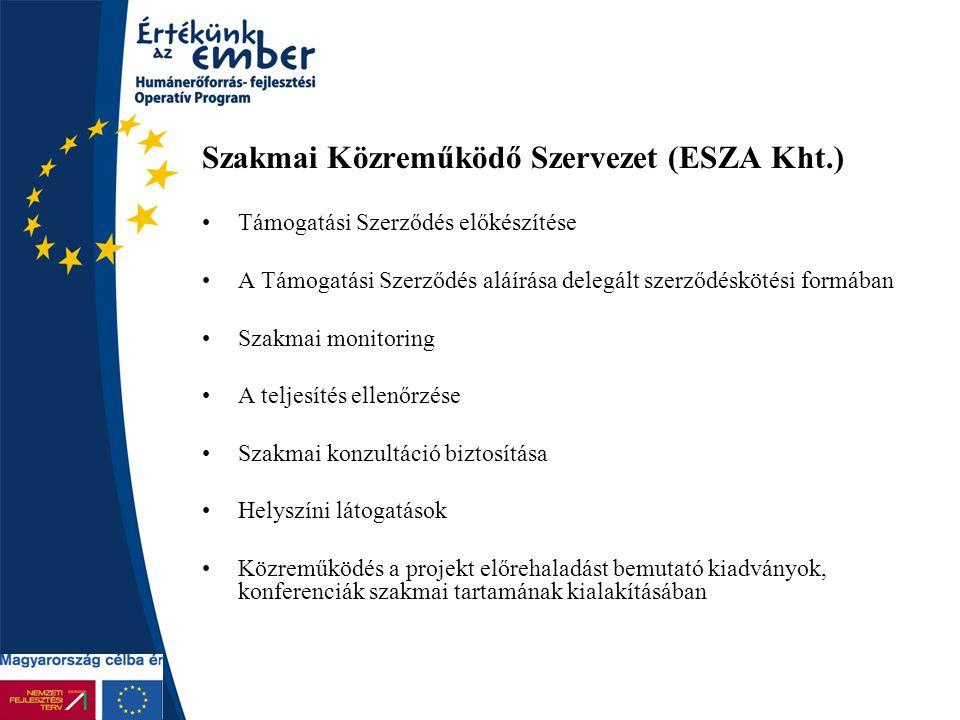 Szakmai Közreműködő Szervezet (ESZA Kht.) Támogatási Szerződés előkészítése A Támogatási Szerződés aláírása delegált szerződéskötési formában Szakmai monitoring A teljesítés ellenőrzése Szakmai konzultáció biztosítása Helyszíni látogatások Közreműködés a projekt előrehaladást bemutató kiadványok, konferenciák szakmai tartamának kialakításában