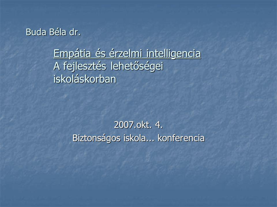 Buda Béla dr. Empátia és érzelmi intelligencia A fejlesztés lehetőségei iskoláskorban 2007.okt. 4. Biztonságos iskola... konferencia