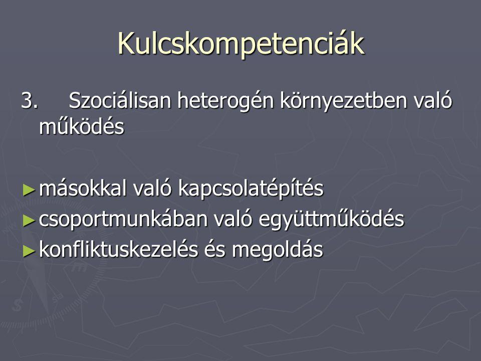 Kulcskompetenciák 3.Szociálisan heterogén környezetben való működés ► másokkal való kapcsolatépítés ► csoportmunkában való együttműködés ► konfliktusk