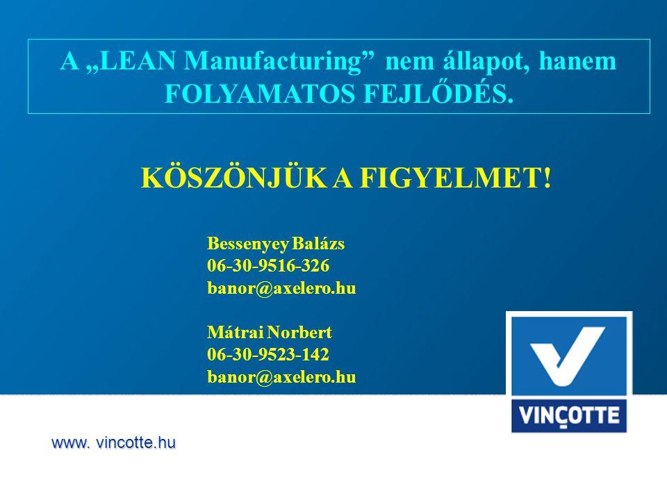 """www.vincotte.hu A """"LEAN Manufacturing nem állapot, hanem FOLYAMATOS FEJLŐDÉS."""