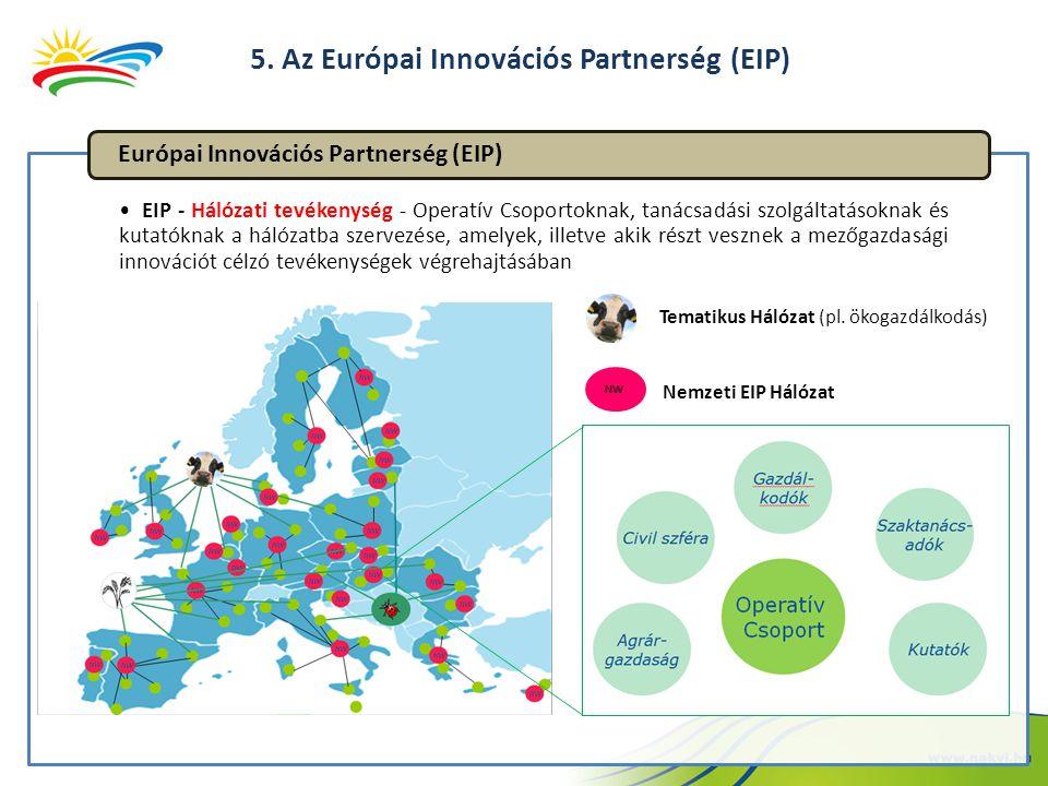 EIP - Hálózati tevékenység - Operatív Csoportoknak, tanácsadási szolgáltatásoknak és kutatóknak a hálózatba szervezése, amelyek, illetve akik részt vesznek a mezőgazdasági innovációt célzó tevékenységek végrehajtásában Európai Innovációs Partnerség (EIP) NW Nemzeti EIP Hálózat Tematikus Hálózat (pl.