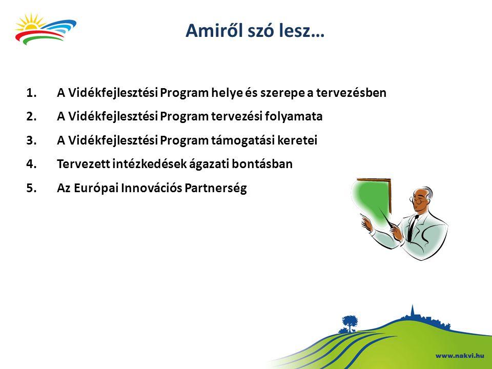 Amiről szó lesz… 1.A Vidékfejlesztési Program helye és szerepe a tervezésben 2.A Vidékfejlesztési Program tervezési folyamata 3.A Vidékfejlesztési Program támogatási keretei 4.Tervezett intézkedések ágazati bontásban 5.Az Európai Innovációs Partnerség