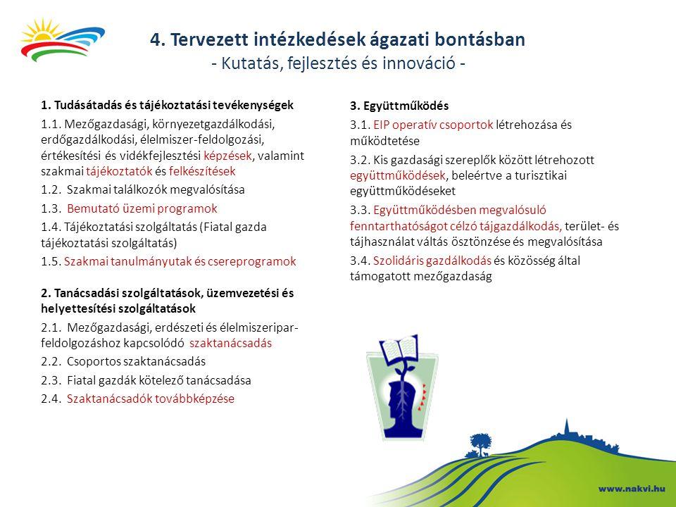 1. Tudásátadás és tájékoztatási tevékenységek 1.1. Mezőgazdasági, környezetgazdálkodási, erdőgazdálkodási, élelmiszer-feldolgozási, értékesítési és vi