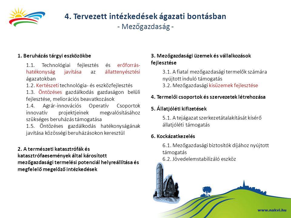 4. Tervezett intézkedések ágazati bontásban - Mezőgazdaság - 1. Beruházás tárgyi eszközökbe 1.1. Technológiai fejlesztés és erőforrás- hatékonyság jav
