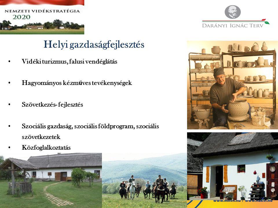 Helyi gazdaságfejlesztés Vidéki turizmus, falusi vendéglátás Hagyományos kézm ű ves tevékenységek Szövetkezés- fejlesztés Szociális gazdaság, szociáli