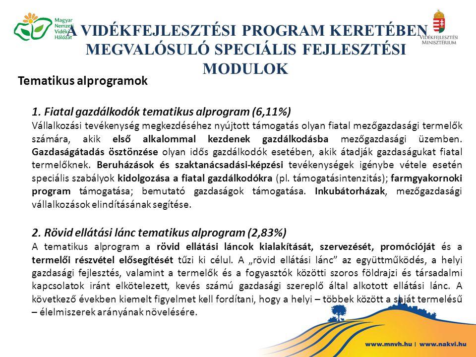Tematikus alprogramok 1. Fiatal gazdálkodók tematikus alprogram (6,11%) Vállalkozási tevékenység megkezdéséhez nyújtott támogatás olyan fiatal mezőgaz