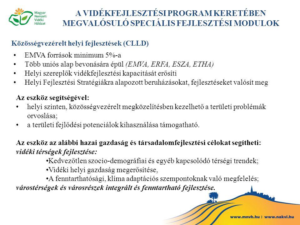 Közösségvezérelt helyi fejlesztések (CLLD) EMVA források minimum 5%-a Több uniós alap bevonására épül (EMVA, ERFA, ESZA, ETHA) Helyi szereplők vidékfe
