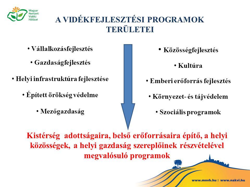 A VIDÉKFEJLESZTÉSI PROGRAMOK TERÜLETEI Vállalkozásfejlesztés Gazdaságfejlesztés Helyi infrastruktúra fejlesztése Épített örökség védelme Mezőgazdaság