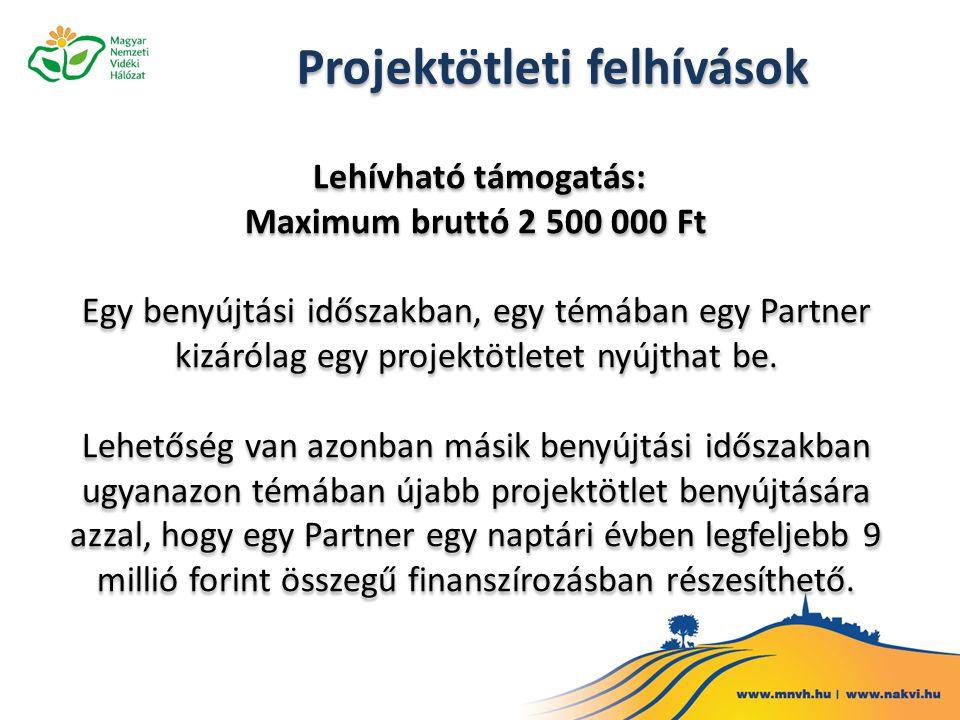 Lehívható támogatás: Maximum bruttó 2 500 000 Ft Egy benyújtási időszakban, egy témában egy Partner kizárólag egy projektötletet nyújthat be. Lehetősé