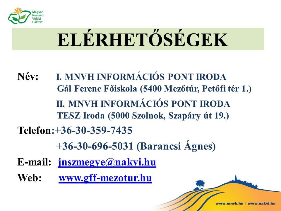 ELÉRHETŐSÉGEK Név: I. MNVH INFORMÁCIÓS PONT IRODA Gál Ferenc Főiskola (5400 Mezőtúr, Petőfi tér 1.) II. MNVH INFORMÁCIÓS PONT IRODA TESZ Iroda (5000 S