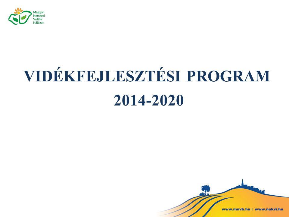 A VIDÉKFEJLESZTÉSI PROGRAM HELYE ÉS SZEREPE A TERVEZÉSBEN Nemzeti célok/stratégiák EU Kohéziós politika Operatív Programok* Szakpolitikai Stratégiák Megyei fejlesztési Igények OFTK Partnerségi Megállapodás EU Prioritások EU 2020 Stratégia Nemzeti Reform Program CSF (Közös Stratégiai Keret) EU Prioritások EU 2020 Stratégia Nemzeti Reform Program CSF (Közös Stratégiai Keret) GINOP VEKOP TOP EFOP IKOP VP MAHOP KEHOP KAP célkitűzések EMVA vidékfejlesztési prioritások KAP célkitűzések EMVA vidékfejlesztési prioritások Közös Agrárpolitika NVS Növekedési Terv