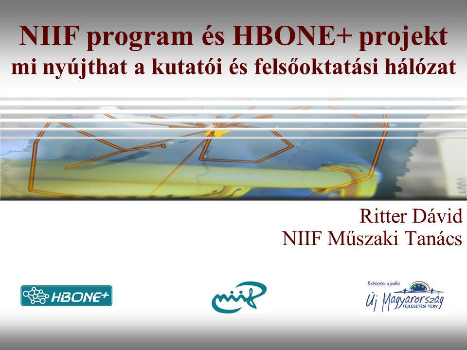"""Nemzeti Információs Infrastruktúra Fejlesztési Intézet NIIF + HBONE+ """"Akadémiai hálózat (NREN) """"Akadémiai hálózat – Nemzeti Kutatási és Felsőoktatási Hálózat (NREN – National Research and Education Network) Non-profit hálózat és szervezet, amely a felsőoktatást és a kutatást, és a közgyűjteményeket is – szolgálja Összeurópai minta (TERENA) cél az ERA támogatása Speciális infrastruktúra, speciális igények kiszolgálására: legújabb és legfejlettebb technológiák alkalmazása, bőséges sávszélesség és kapacitás"""