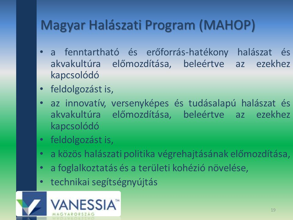 Magyar Halászati Program (MAHOP) a fenntartható és erőforrás-hatékony halászat és akvakultúra előmozdítása, beleértve az ezekhez kapcsolódó feldolgozást is, az innovatív, versenyképes és tudásalapú halászat és akvakultúra előmozdítása, beleértve az ezekhez kapcsolódó feldolgozást is, a közös halászati politika végrehajtásának előmozdítása, a foglalkoztatás és a területi kohézió növelése, technikai segítségnyújtás 19