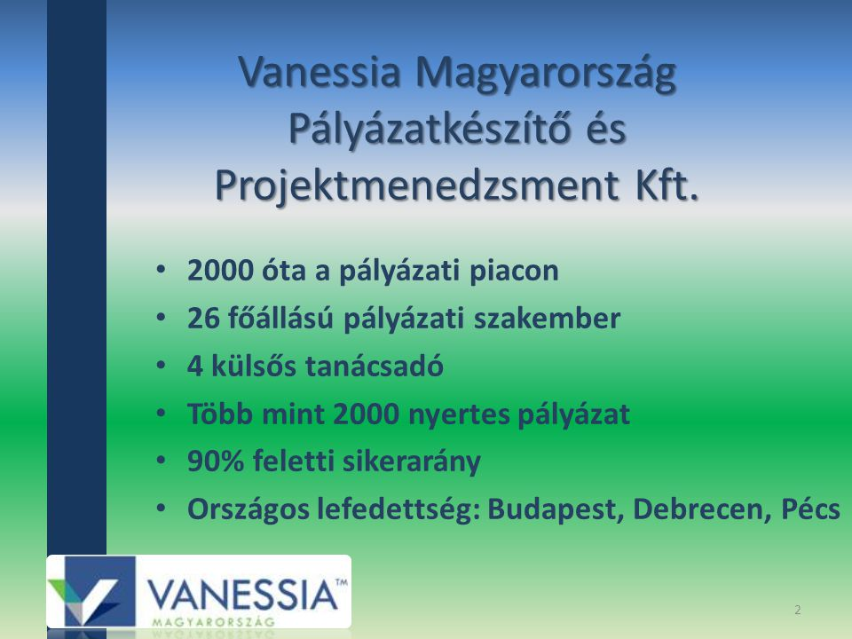 Vanessia Magyarország Pályázatkészítő és Projektmenedzsment Kft. 2000 óta a pályázati piacon 26 főállású pályázati szakember 4 külsős tanácsadó Több m