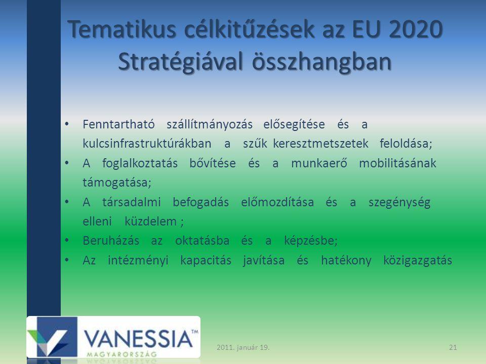 Tematikus célkitűzések az EU 2020 Stratégiával összhangban Fenntartható szállítmányozás elősegítése és a kulcsinfrastruktúrákban a szűk keresztmetszetek feloldása; A foglalkoztatás bővítése és a munkaerő mobilitásának támogatása; A társadalmi befogadás előmozdítása és a szegénység elleni küzdelem ; Beruházás az oktatásba és a képzésbe; Az intézményi kapacitás javítása és hatékony közigazgatás 2011.