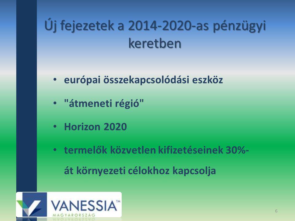 Új fejezetek a 2014-2020-as pénzügyi keretben európai összekapcsolódási eszköz átmeneti régió Horizon 2020 termelők közvetlen kifizetéseinek 30%- át környezeti célokhoz kapcsolja 6