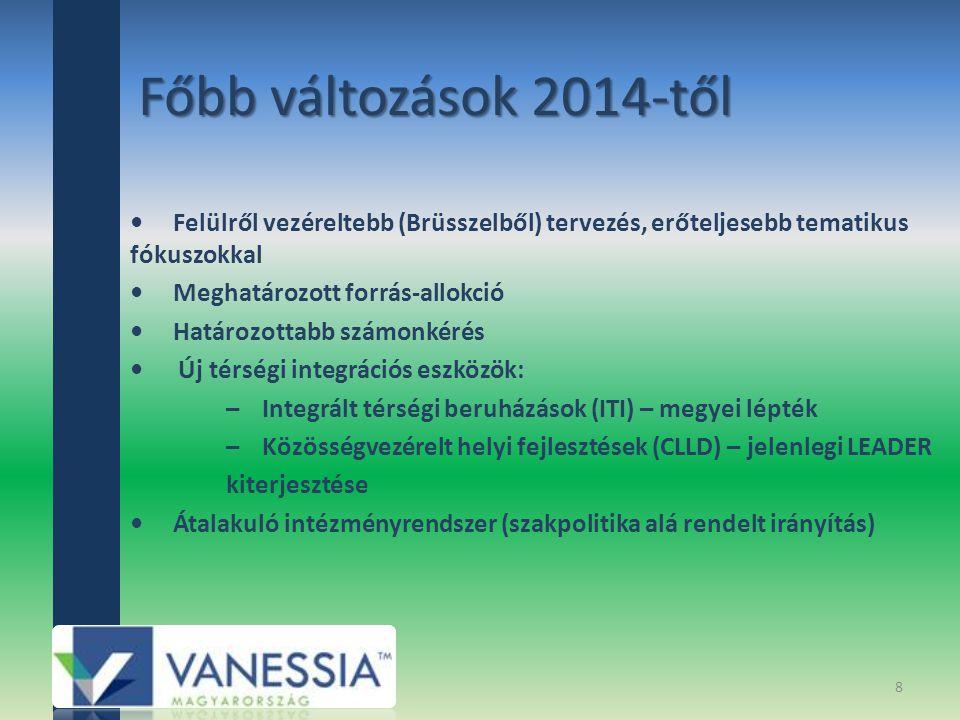 Főbb változások 2014-től Felülről vezéreltebb (Brüsszelből) tervezés, erőteljesebb tematikus fókuszokkal Meghatározott forrás-allokció Határozottabb számonkérés Új térségi integrációs eszközök: – Integrált térségi beruházások (ITI) – megyei lépték – Közösségvezérelt helyi fejlesztések (CLLD) – jelenlegi LEADER kiterjesztése Átalakuló intézményrendszer (szakpolitika alá rendelt irányítás) 8