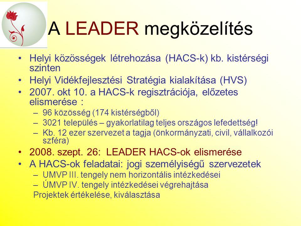A LEADER megközelítés Helyi közösségek létrehozása (HACS-k) kb. kistérségi szinten Helyi Vidékfejlesztési Stratégia kialakítása (HVS) 2007. okt 10. a