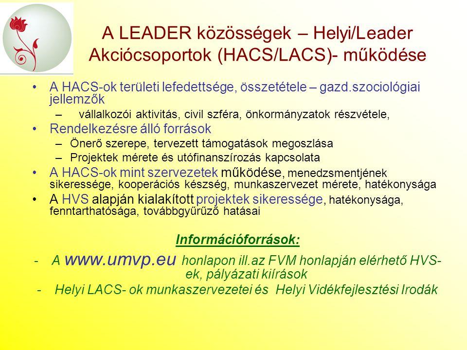A LEADER közösségek – Helyi/Leader Akciócsoportok (HACS/LACS)- működése A HACS-ok területi lefedettsége, összetétele – gazd.szociológiai jellemzők –vá