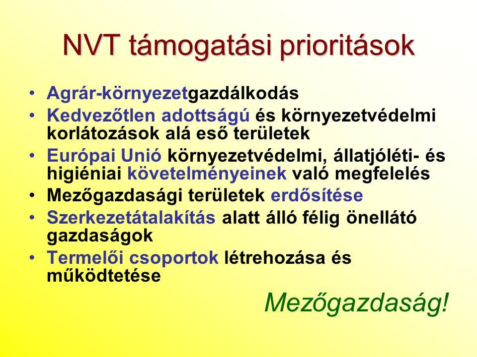 NVT támogatási prioritások Agrár-környezetgazdálkodás Kedvezőtlen adottságú és környezetvédelmi korlátozások alá eső területek Európai Unió környezetv