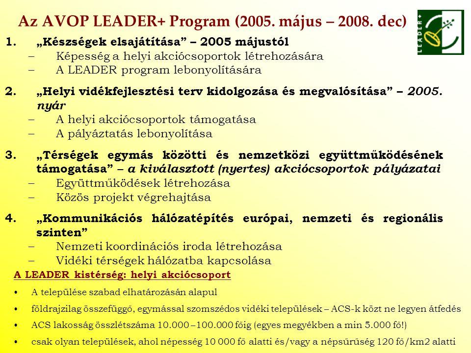 """Az AVOP LEADER+ Program (2005. május – 2008. dec) 1.""""Készségek elsajátítása"""" – 2005 májustól –Képesség a helyi akciócsoportok létrehozására –A LEADER"""