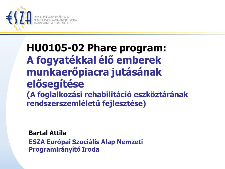 HU0105-02 Phare program: A fogyatékkal élő emberek munkaerőpiacra jutásának elősegítése (A foglalkozási rehabilitáció eszköztárának rendszerszemléletű fejlesztése) Bartal Attila ESZA Európai Szociális Alap Nemzeti Programirányító Iroda