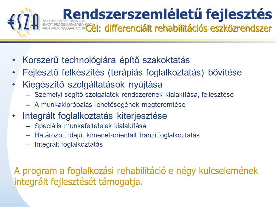 Rendszerszemléletű fejlesztés Korszerű technológiára építő szakoktatás Fejlesztő felkészítés (terápiás foglalkoztatás) bővítése Kiegészítő szolgáltatások nyújtása –Személyi segítő szolgálatok rendszerének kialakítása, fejlesztése –A munkakipróbálás lehetőségének megteremtése Integrált foglalkoztatás kiterjesztése –Speciális munkafeltételek kialakítása –Határozott idejű, kimenet-orientált tranzitfoglalkoztatás –Integrált foglalkoztatás Cél: differenciált rehabilitációs eszközrendszer A program a foglalkozási rehabilitáció e négy kulcselemének integrált fejlesztését támogatja.
