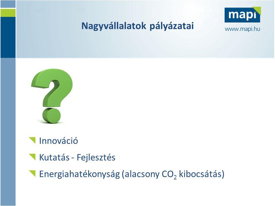Nagyvállalatok pályázatai Innováció Kutatás - Fejlesztés Energiahatékonyság (alacsony CO 2 kibocsátás)