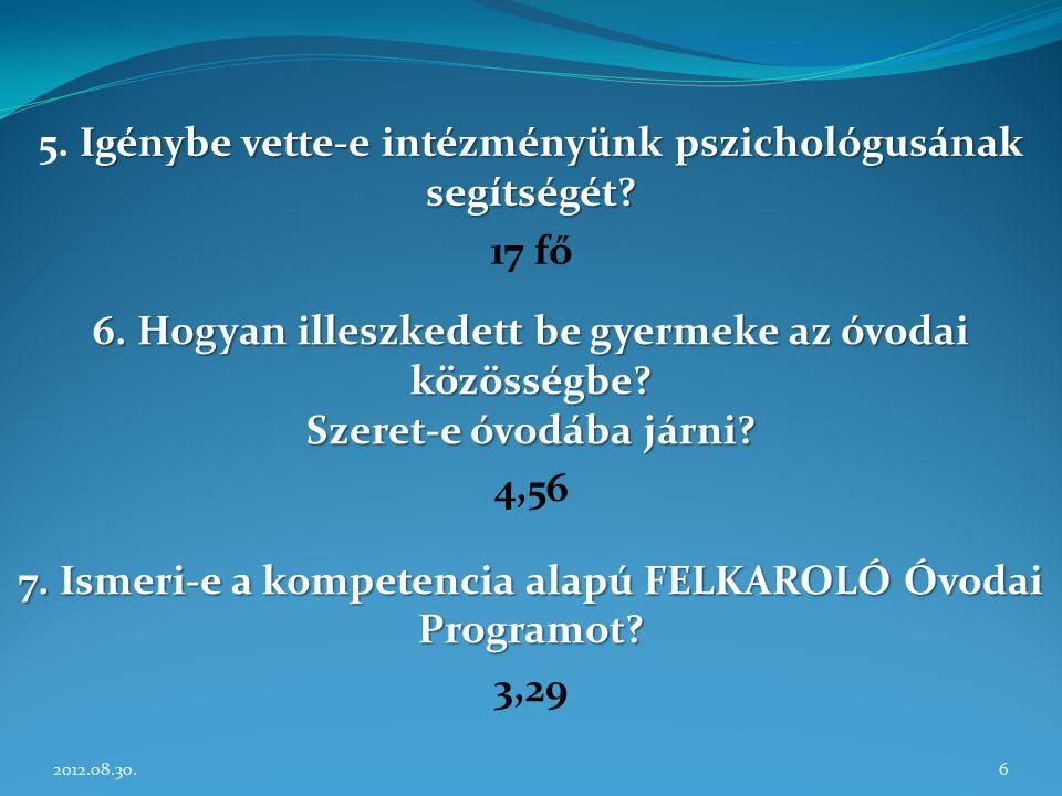 2012.08.30.6 Igénybe vette-e intézményünk pszichológusának segítségét? 5. Igénybe vette-e intézményünk pszichológusának segítségét? 17 fő 6. Hogyan il