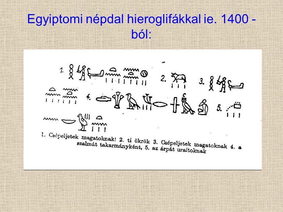 Egyiptomi népdal hieroglifákkal ie. 1400 - ból: