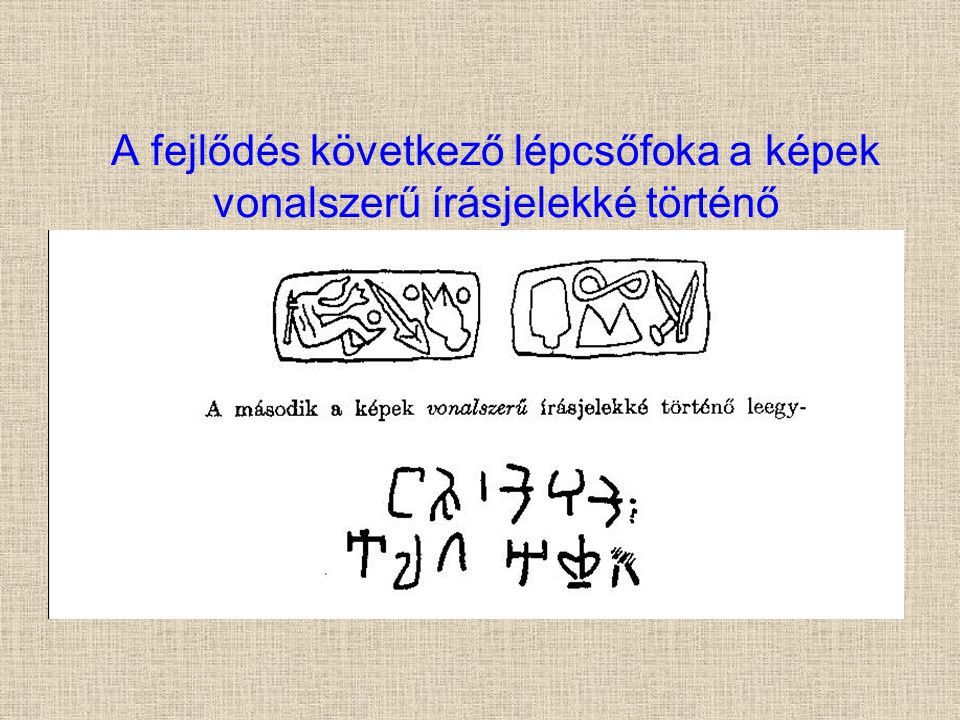 A fejlődés következő lépcsőfoka a képek vonalszerű írásjelekké történő leegyszerűsödése: