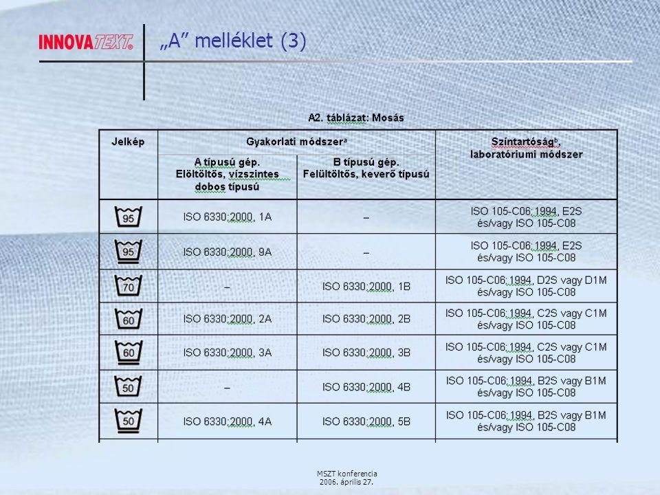 """MSZT konferencia 2006. április 27. """"A melléklet (3)"""