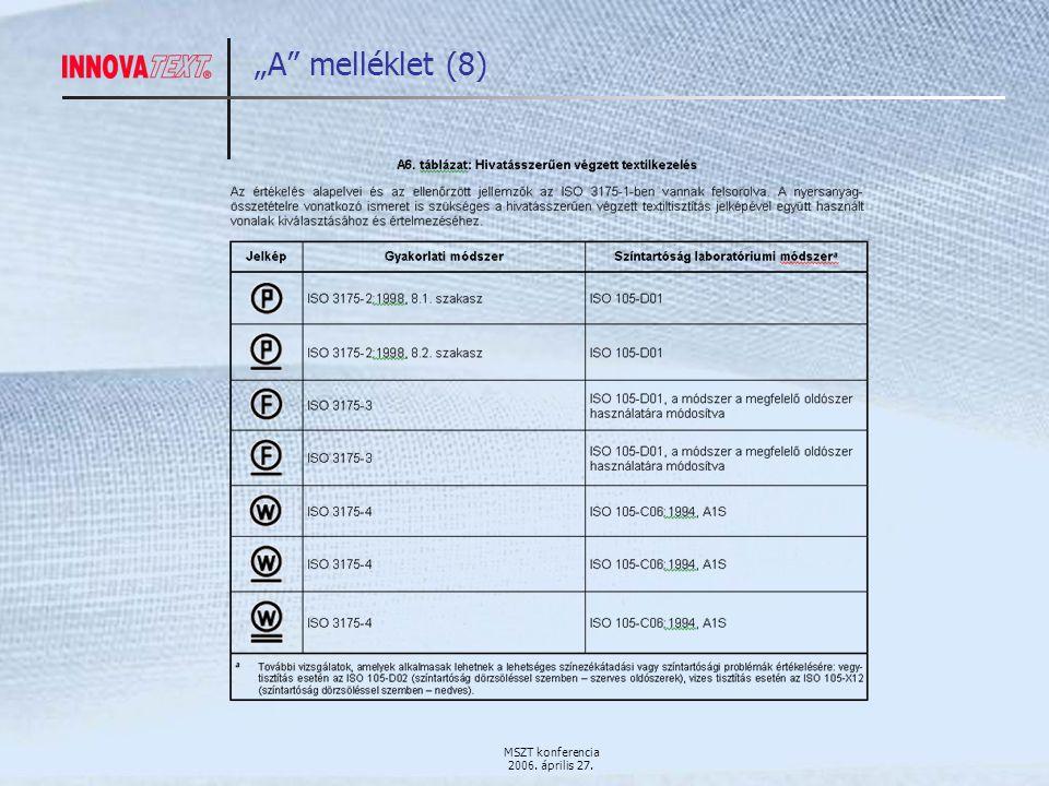 """MSZT konferencia 2006. április 27. """"A melléklet (8)"""