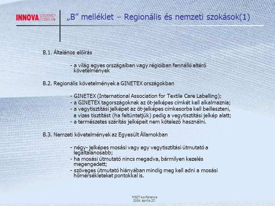 """MSZT konferencia 2006. április 27. """"B melléklet – Regionális és nemzeti szokások(1) B.1."""