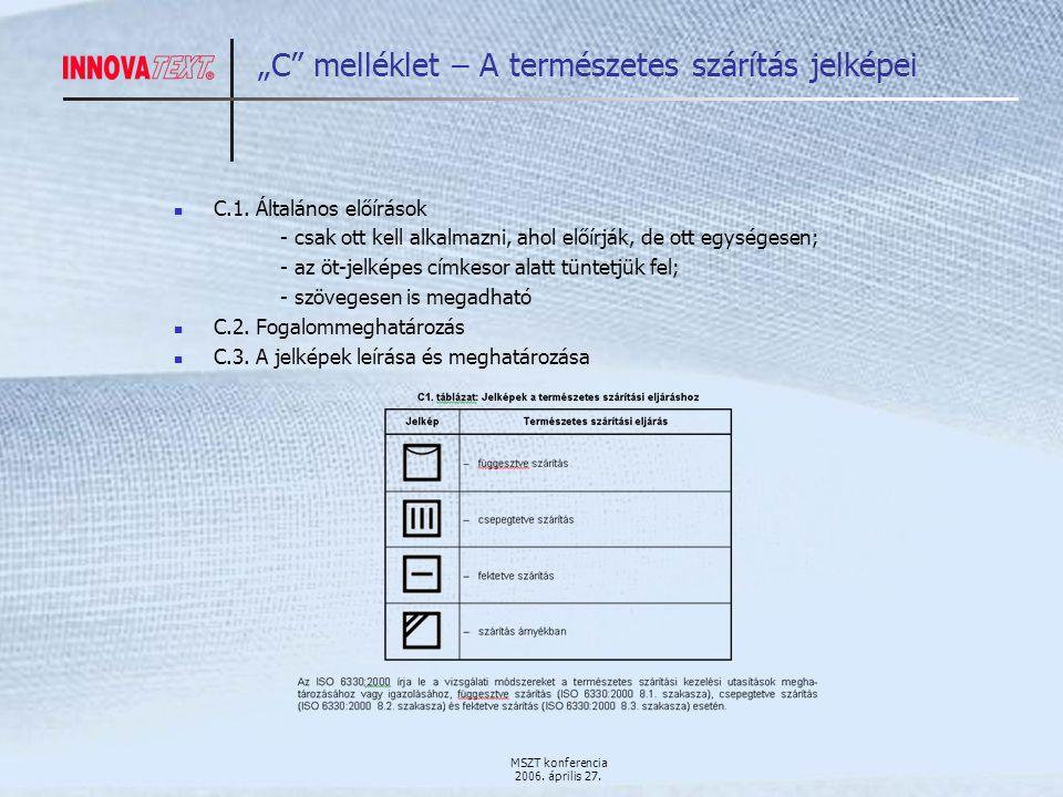 """MSZT konferencia 2006. április 27. """"C melléklet – A természetes szárítás jelképei C.1."""
