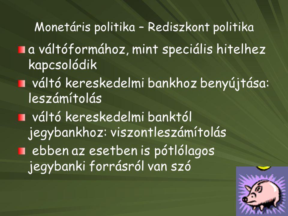 Monetáris politika – Rediszkont politika a váltóformához, mint speciális hitelhez kapcsolódik váltó kereskedelmi bankhoz benyújtása: leszámítolás vált