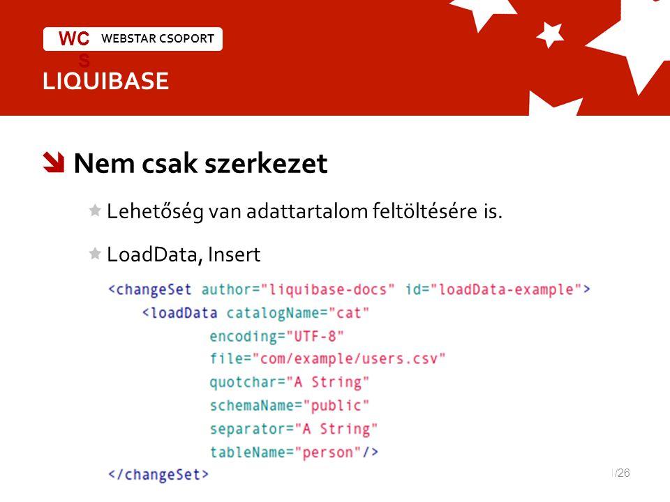 WEBSTAR CSOPORT WC S LIQUIBASE  Nem csak szerkezet Lehetőség van adattartalom feltöltésére is.