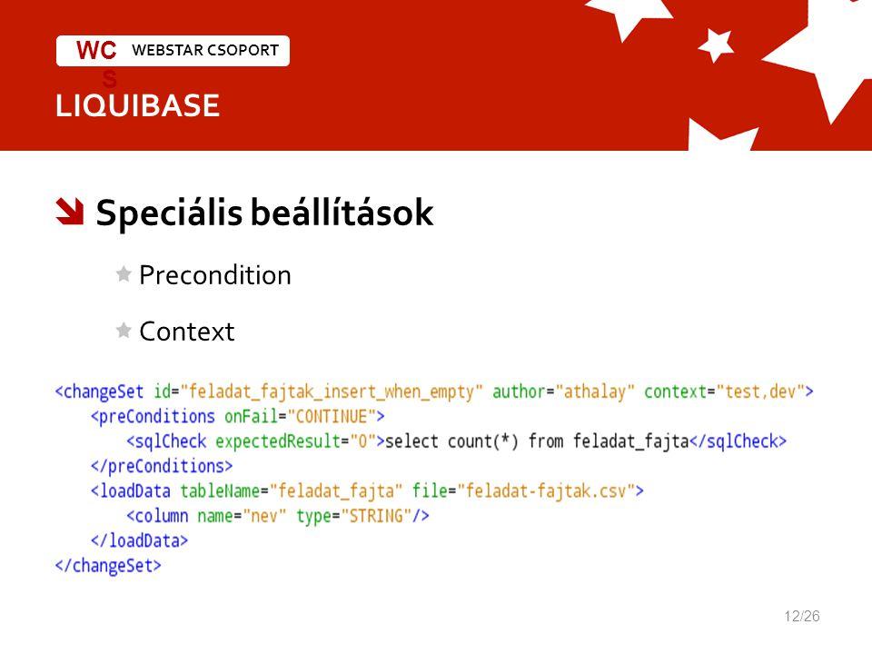 WEBSTAR CSOPORT WC S LIQUIBASE  Speciális beállítások Precondition Context 12/26