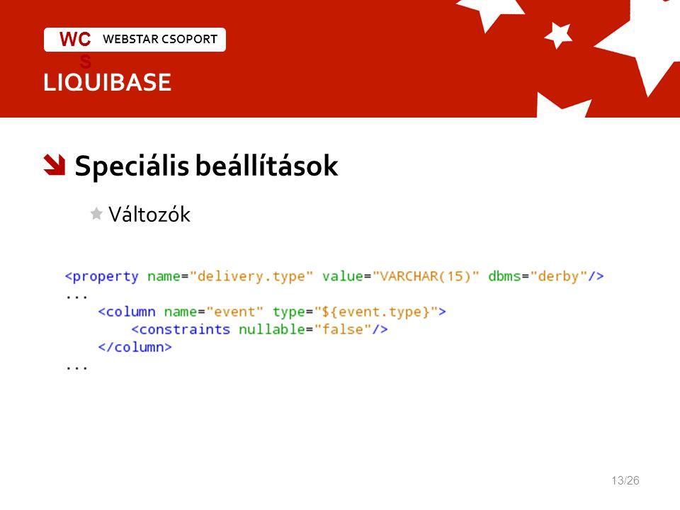 WEBSTAR CSOPORT WC S LIQUIBASE  Speciális beállítások Változók 13/26