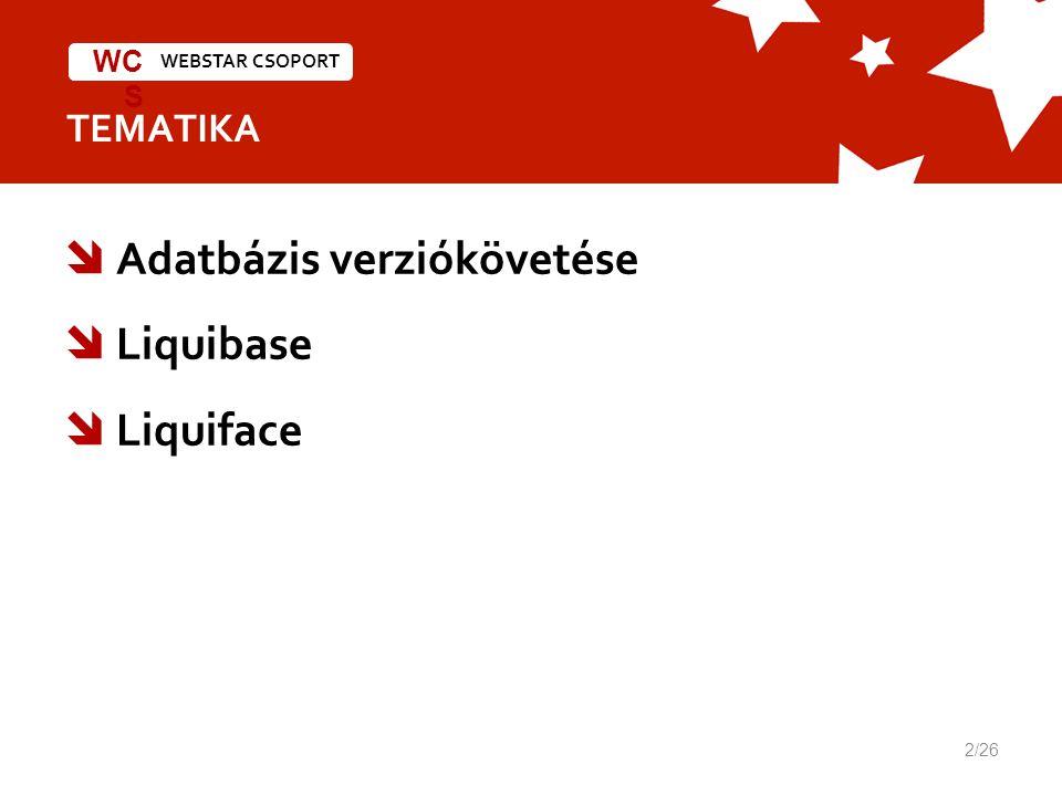 WEBSTAR CSOPORT WC S TEMATIKA  Adatbázis verziókövetése  Liquibase  Liquiface 2/26