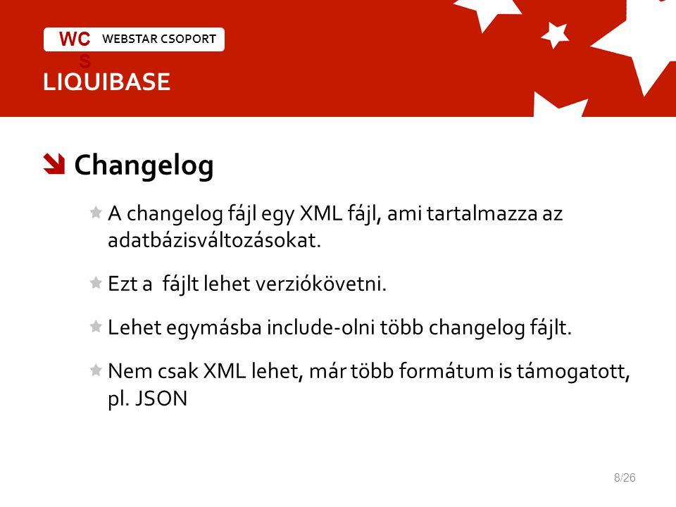 WEBSTAR CSOPORT WC S LIQUIBASE  Changelog A changelog fájl egy XML fájl, ami tartalmazza az adatbázisváltozásokat.